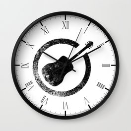 Acoustic Guitar Ink Stamp Wall Clock