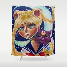 Sailor Moon and Luna Fan Art Pop Surrealism  Shower Curtain