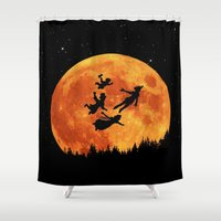 neverland Shower Curtains featuring Take Me To Neverland by alifart