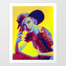 Carole Lombard Neon art by Ahmet Asar Art Print