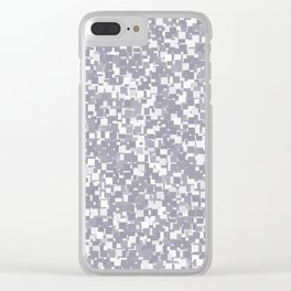Lilac Gray Pixels Clear iPhone Case