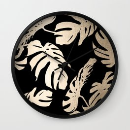 Simply Palm Leaves in White Gold Sands on Midnight Black Wall Clock