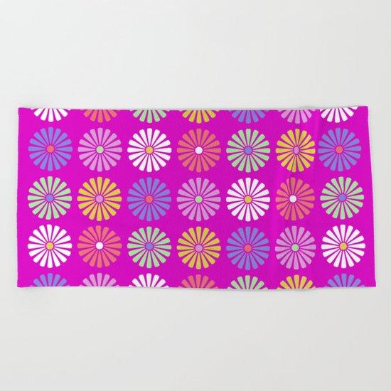 Pastel Flowers Pattern (On Purple/Pink) Beach Towel