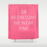 mean girls Shower Curtains featuring Mean Girls #8 – Pink by Enyalie