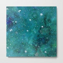 Watercolor galaxy - teal Metal Print