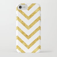 gold foil iPhone & iPod Cases featuring Gold Foil Chevron by NeoQlassical