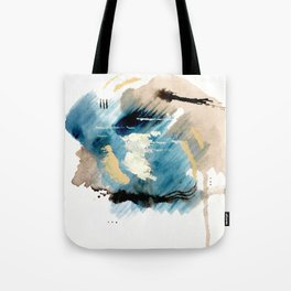 You are an Ocean - abstract India Ink & Acrylic in blue, gray, brown, black and white Tote Bag