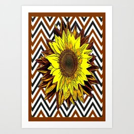 Contemporary Yellow-Brown Sunflower Design in Coffee brown, Black and White Abstract Pattern Art Print