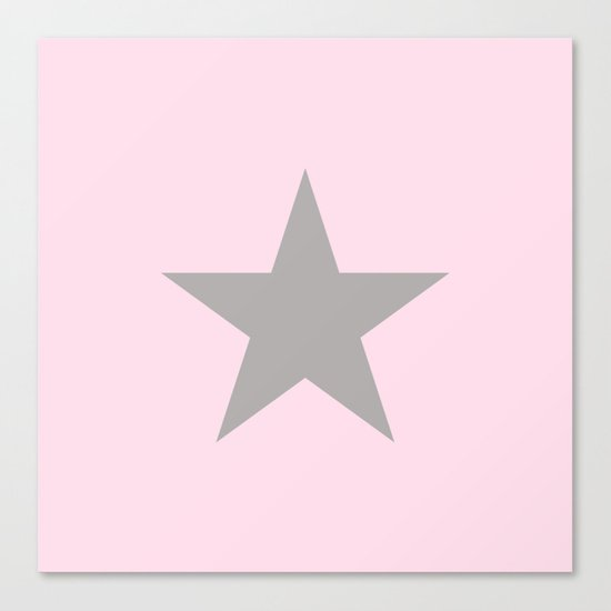 Grey star on pink background Canvas Print