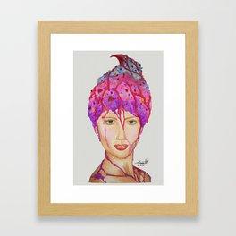 Little-Miss-Sundae-Head-With-Cherry-Dipping Framed Art Print