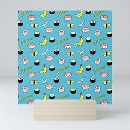 Kawaii Sushi Pattern (blue) Mini Art Print