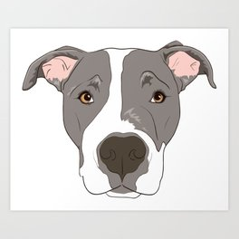 Pitbull Portrait Art Print