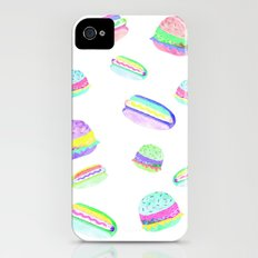 Colorful Hot-Dog and Burger Pattern Slim Case iPhone (4, 4s)