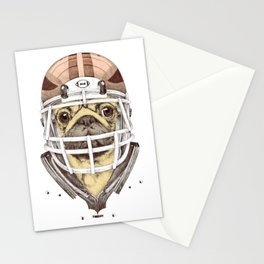 American Pug Football Yellow Stationery Cards