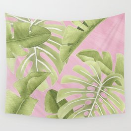Botanical on Pink Wall Tapestry