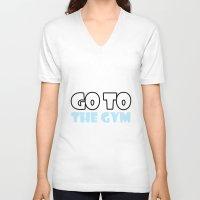 gym V-neck T-shirts featuring GYM GYM by ItsFahmi