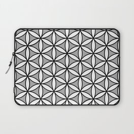Flower of Life Pattern BW on Gray Laptop Sleeve