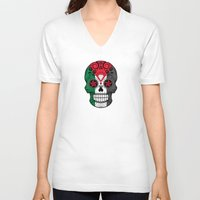 palestine V-neck T-shirts featuring Sugar Skull with Roses and Flag of Palestine by Jeff Bartels