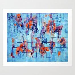 Blue Line Abstract Modern Acrylic Painting, Blue Home Decor Art Print