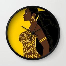 Honey // Yellow, Melanin, Woman, Femme, Black, Brown, Gold Wall Clock
