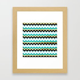 Black, Teal, and Gold Chevron Pattern Framed Art Print