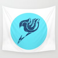 fairy tail Wall Tapestries featuring Fairy Tail Segmented Logo (Gray) circle by JoshBeck