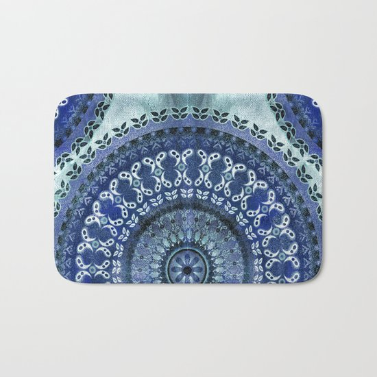 Vintage Blue Wash Mandala Bath Mat