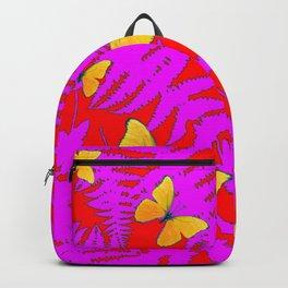 DECORATIVE RED-PURPLE FERNS & GOLDEN BUTTERFLIES Backpack