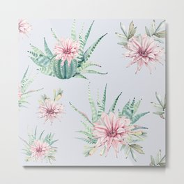 Cactus Pattern Light Blue #society6 #buyart Metal Print
