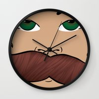 roller derby Wall Clocks featuring Stache Bash Roller Derby by Stormy Sea Studio