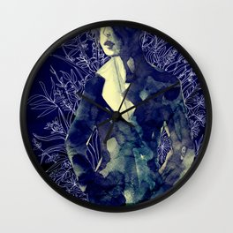 Shadow-man in conscious flowering ornament   Wall Clock