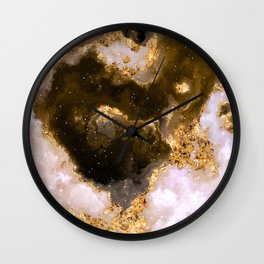 100 Starry Nebulas in Space Black and Gold 015 (Square) Wall Clock