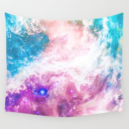Abstract colorful turquoise pink galaxy nebula Wall Tapestry
