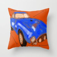 ferrari Throw Pillows featuring Ferrari by Carlota Atlee