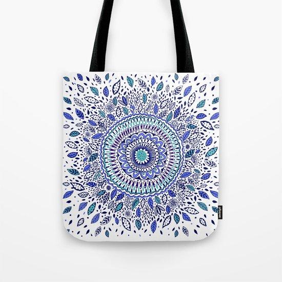 Indigo Flowered Mandala Tote Bag