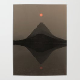 Sunset Over Mount Grinnell and Swiftcurrent Lake. Poster