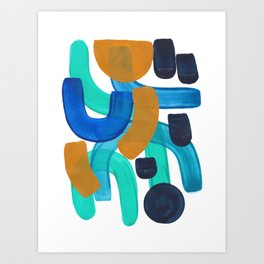 Minimalist Abstract Mid Century Modern Colorful Shapes Marine Green Teal Blue Yellow Pattern Art Print