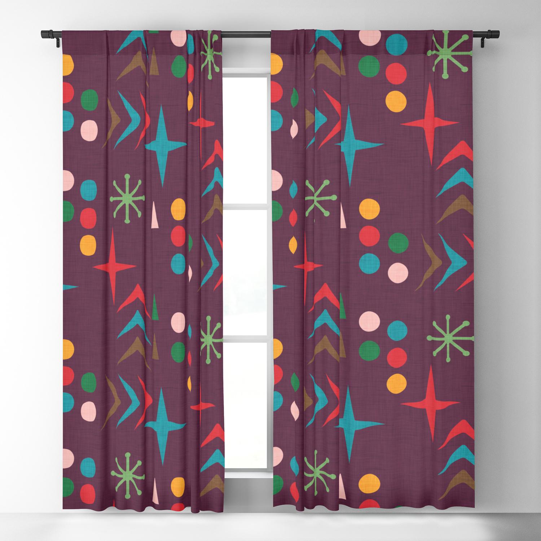Atomic Pattern Purple Mid Century Modern Homedecor Blackout Curtain By Susycosta