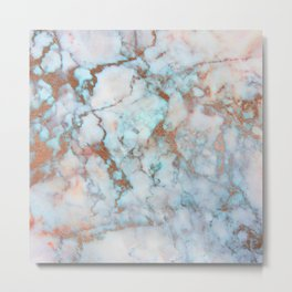Rose Marble with Rose Gold Veins and Blue-Green Tones Metal Print