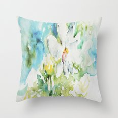 White Daisy Doodle watercolor by CheyAnne Sexton Throw Pillow
