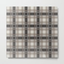 Brown Plaid with tan, cream and gray Metal Print