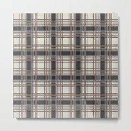 Brown Plaid with tan, cream and gray Metal Print
