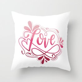Love Ombre Handlettered Design, Colorful, Valentine's Throw Pillow
