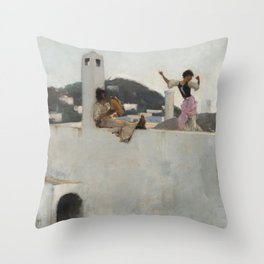 Capri Girl on a Rooftop - John Singer Sargent Throw Pillow