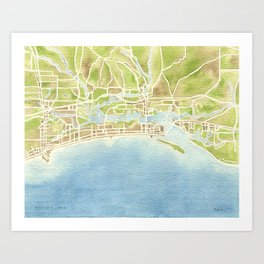 Biloxi Mississippi coast watercolor map Art Print