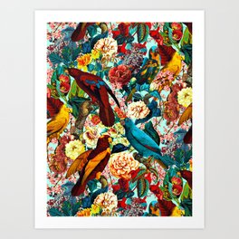 FLORAL AND BIRDS XV Art Print