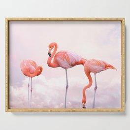 Flamingos and Pink Sunset | Landscape Photography | Nature | Coastal Serving Tray