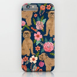 Brussels Griffon florals portrait for dog lovers custom pet friendly gifts for all dog breeds iPhone Case