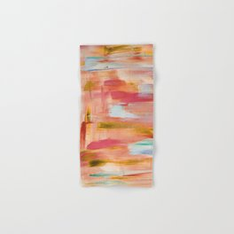 Champagne laughter: minimal, acrylic abstract painting in blush pink, amber & gold / Variation Five Hand & Bath Towel