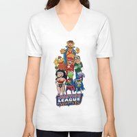 justice league V-neck T-shirts featuring Justice League of Muppets by JoshEssel